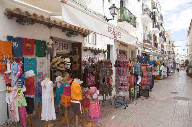 Tourist stores along village street