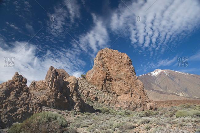 Rock formation in dusty rural landscape