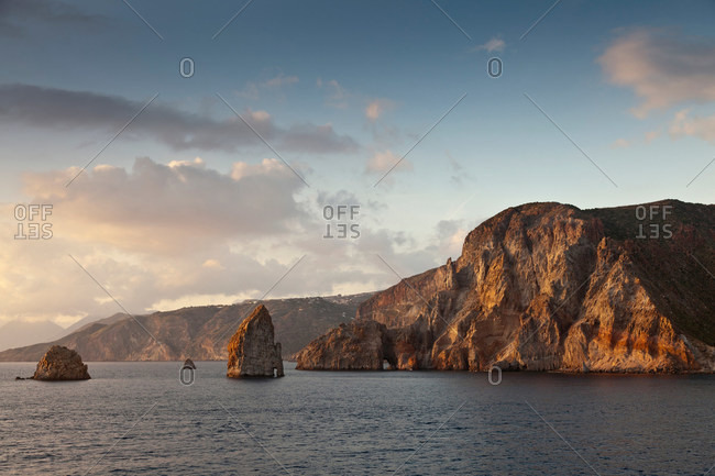 Cliff and rock formations over water
