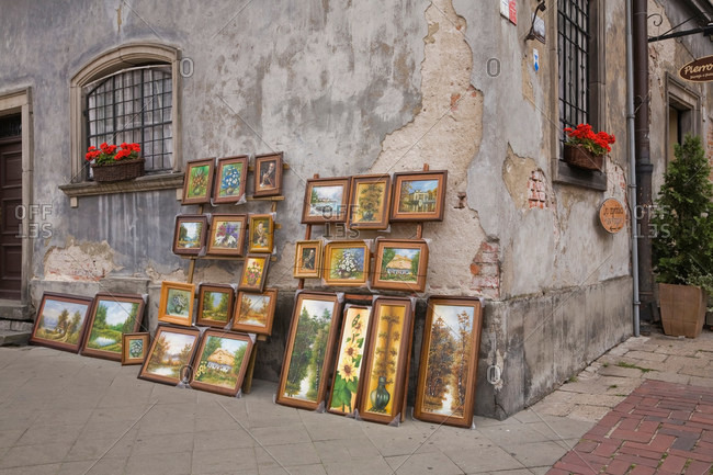 Paintings for sale on city street