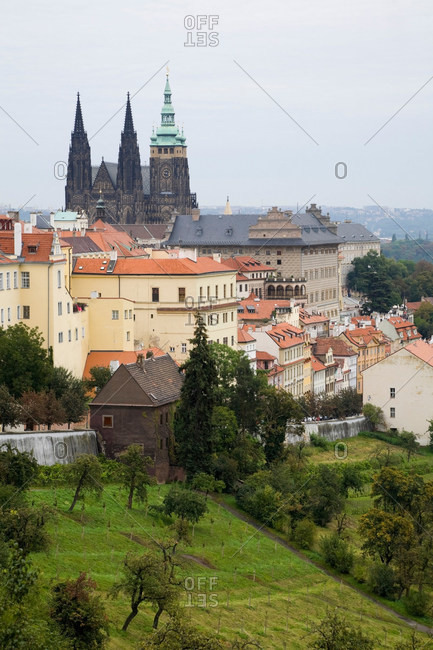 Church spires overlooking city rooftops, Prague