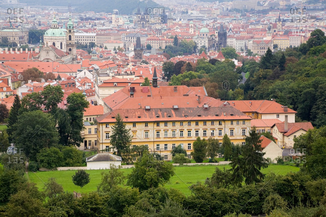 Prague cityscape and surrounding forest