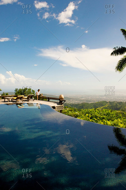 Strawberry Hill resort overlooking Harbor of Kingston, Jamaica