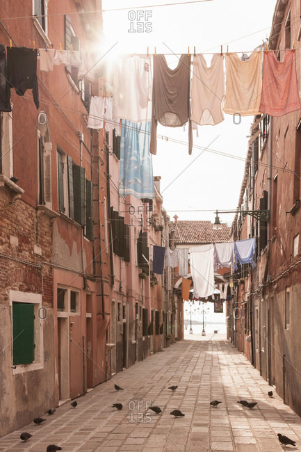 Street with laundry lines, Venice, Italy
