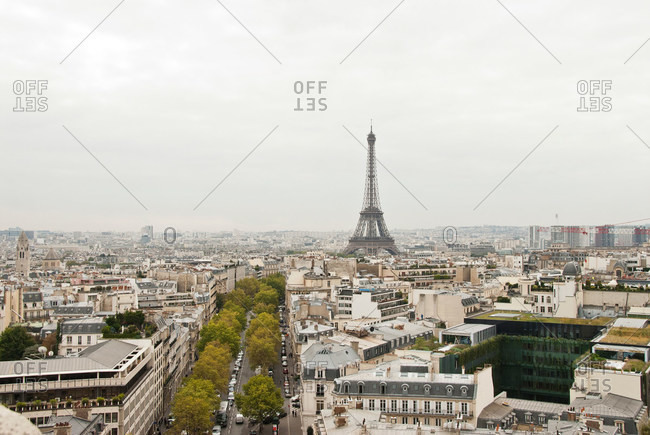 Paris cityscape with Eiffel Tower, France