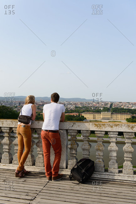 People at Schonbrunn Palace and Gloriette, Vienna, Austria
