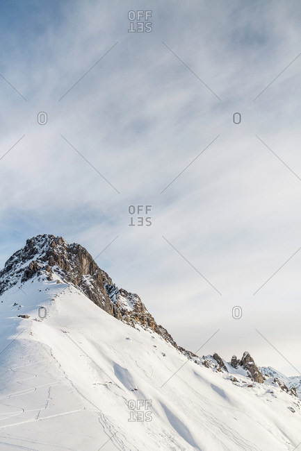 View of mountain ridge, Warth, Vorarlberg, Austria