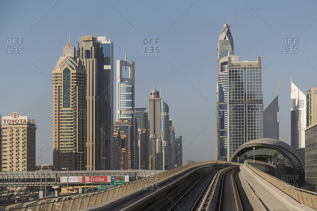 Dubai Metro in downtown Dubai