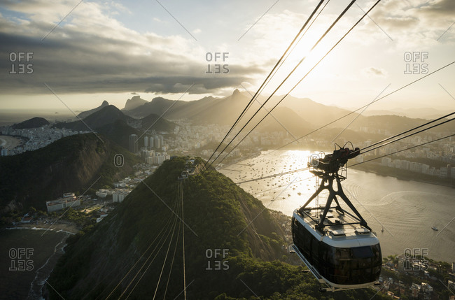 View of cable car from Sugarloaf mountain. Rio De Janeiro, Brazil