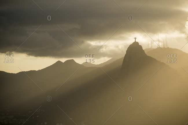 Ethereal view of Christ the Redeemer from Sugarloaf mountain, Rio De Janeiro, Brazil