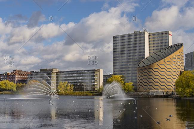 View of fountains and Tycho Brahe Planetarium, Copenhagen, Zealand, Denmark