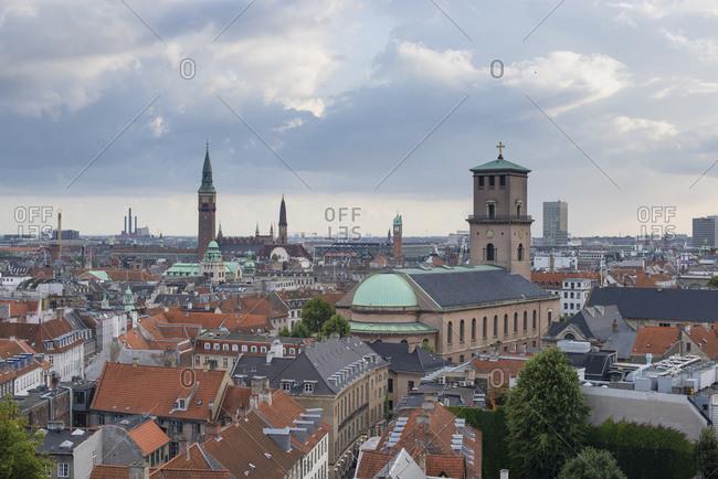Elevated view of city rooftops, Copenhagen, Zealand, Denmark