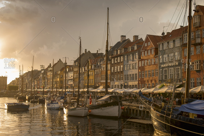 Sunset over New Harbor, Copenhagen, Zealand, Denmark
