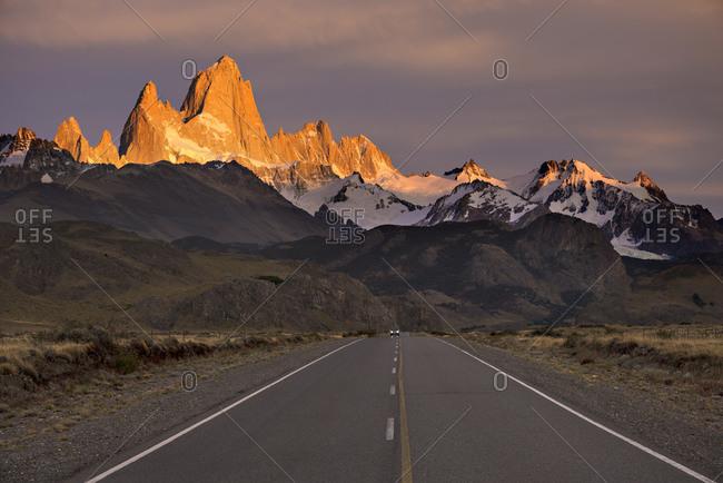 Highway and Fitz Roy Mountain Range at dawn, El Chalten,  Los Glaciares National Park,  Santa Cruz Province, Argentina