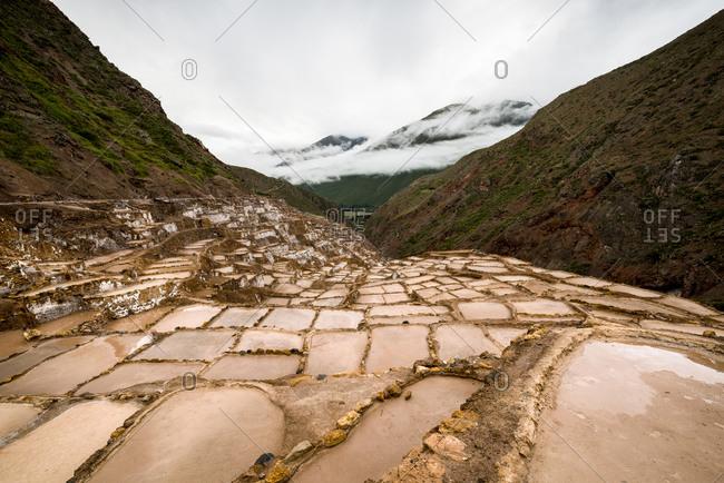 View of salt ponds, Sacred Valley, Peru, South America
