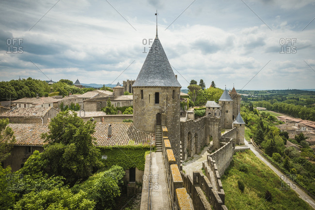 Elevated view of city walls and fort, Carcassonne, Languedoc-Roussillon, France