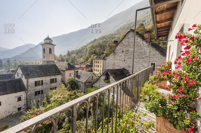 Lodano Village from balcony, Maggia Valley, Ticino, Switzerland