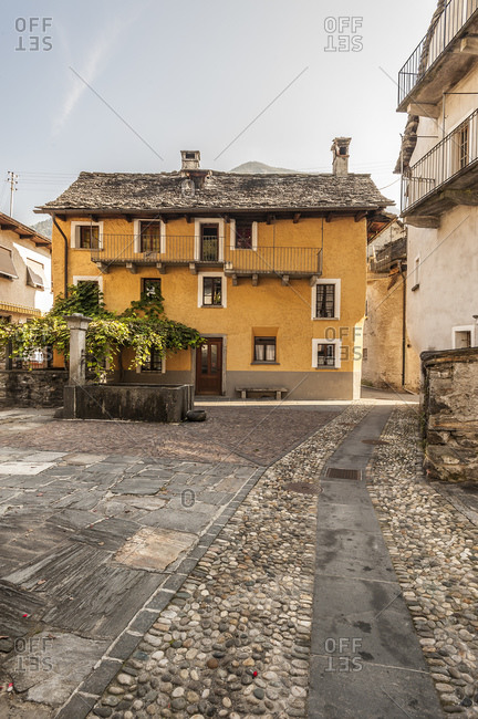 Street and houses, Moghegno Village, Maggia Valley, Ticino, Switzerland