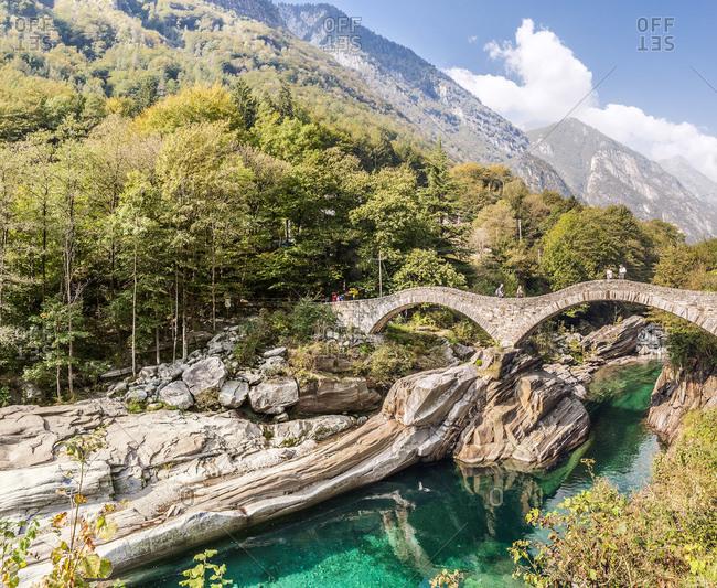 Ponte dei Salti bridge over the Verzasca river near Lazertezzo, Ticino, Switzerland