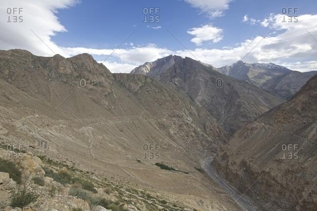 View of Spiti river and valley, Nako, Himachal Pradesh, India, Asia