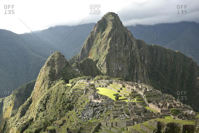 View of Huayna Picchu at Machu Picchu, Sacred Valley, Peru, South America