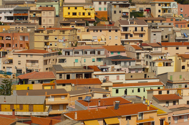 Cityscape of crowded rooftops, Sardinia, Italy