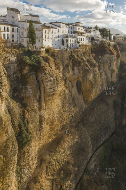 Scenic view of gorge and townscape, Ronda, Spain