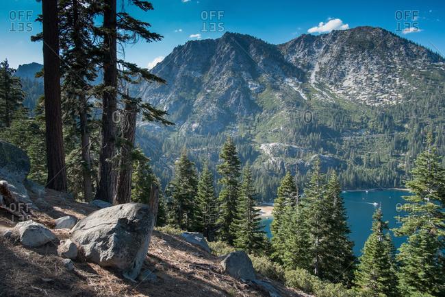 Mountainside view of South Lake Tahoe, California, USA