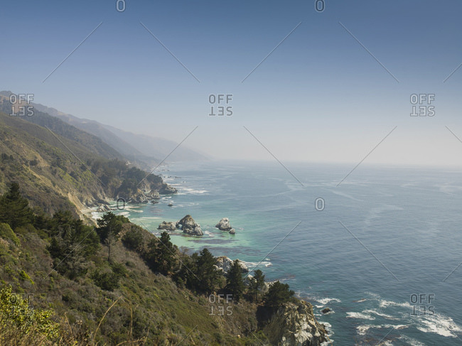 View of sea and Big Sur coastline, California, USA