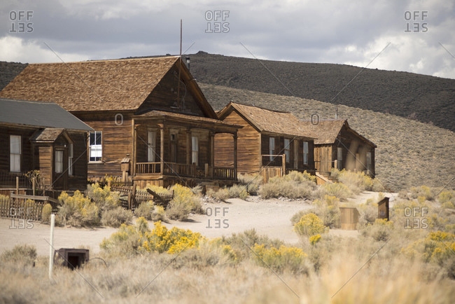 Row of abandoned old houses in Bodie ghost town, Bodie National Park, California, USA