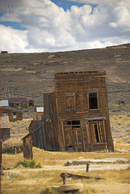 Leaning abandoned old store in Bodie ghost town, Bodie National Park, California, USA