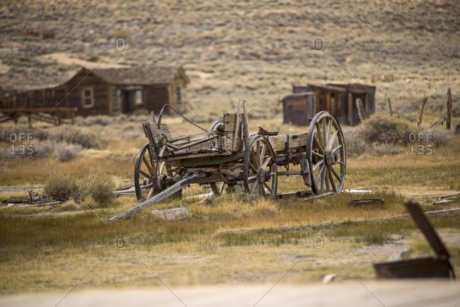 Abandoned carts in Bodie ghost town, Bodie National Park, California, USA