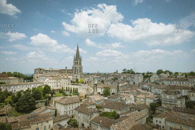 View of monolithic church, Saint-Emilion, Aquitaine, France
