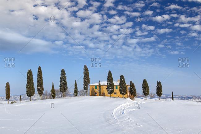 Farm in winter, Pienza, Tuscany, Italy