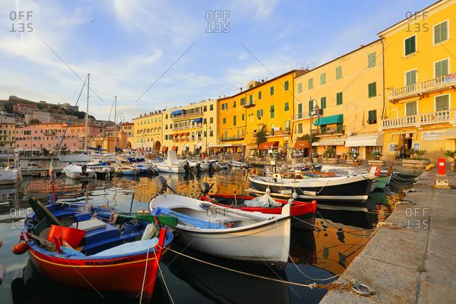 Fishermen's boats, Portoferraio village, Isle of Elba, Maremma, Tuscany, Italy