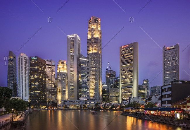 Waterfront and financial district skyline at night, Singapore