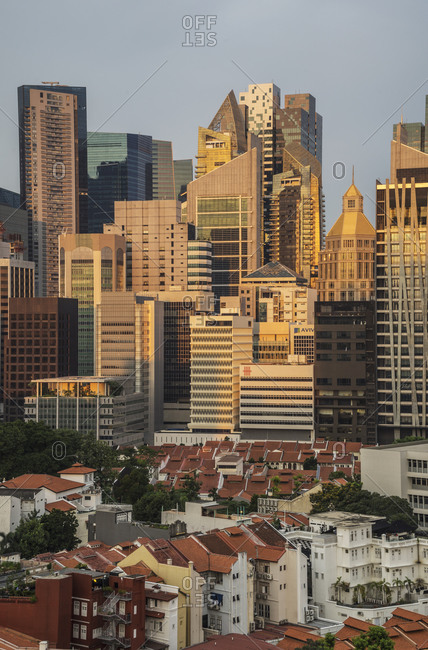 View of china town and financial district, Singapore