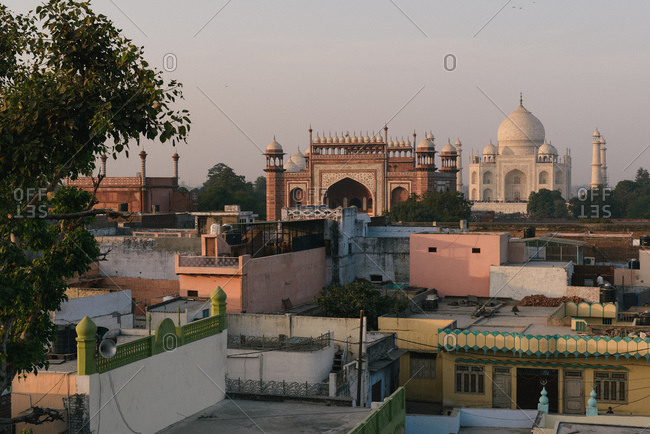 Elevated distant view of  Taj Mahal, Agra, Uttar Pradesh, India
