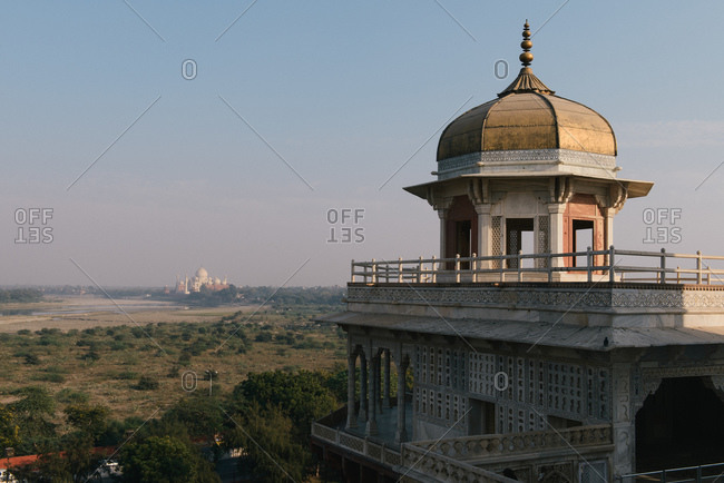Elevated distant view of  Taj Mahal from Agra Fort, Agra, Uttar Pradesh, India