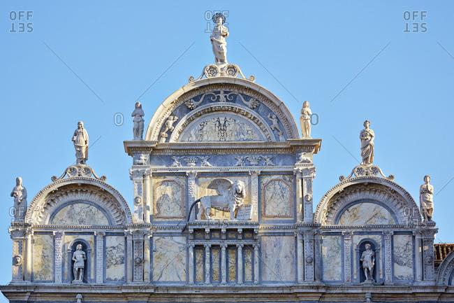 Detail of religious facade, Venice, Veneto, Italy