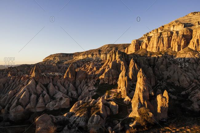 Red Valley at sunset, Goreme National Park, Cappadocia, Anatolia, Turkey