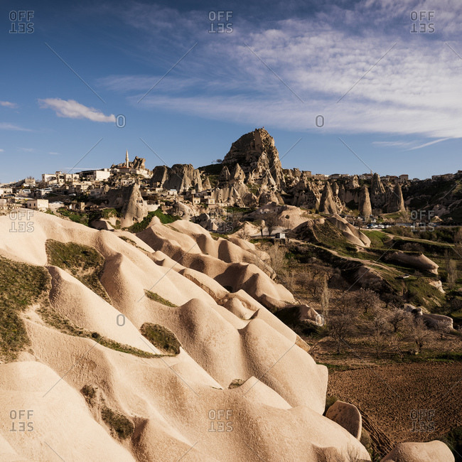 View of rock formations, Uchisar, Goreme National Park, Cappadocia, Anatolia, Turkey