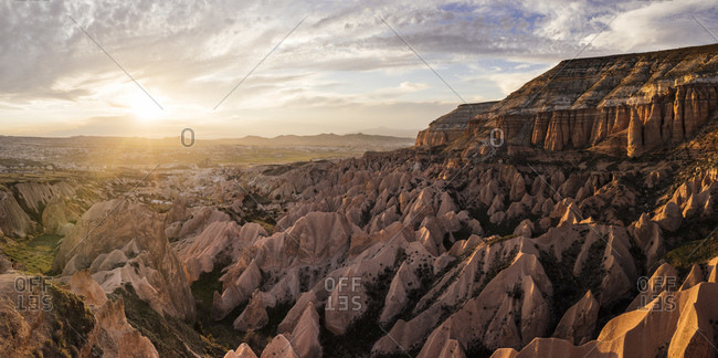View from Aktepe Hill of sunset over Red Valley, Goreme National Park, Cappadocia, Anatolia, Turkey