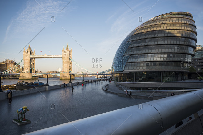 View of City Hall and Tower Bridge, London, UK