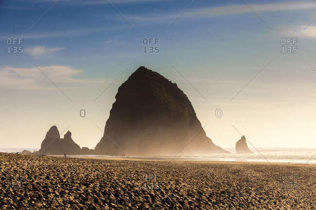 View of beach and haystack rock, Cannon Beach, Oregon, USA