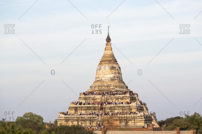 Tourists waiting for sunset on Shwesandaw pagoda,  Bagan, Mandalay Region, Myanmar