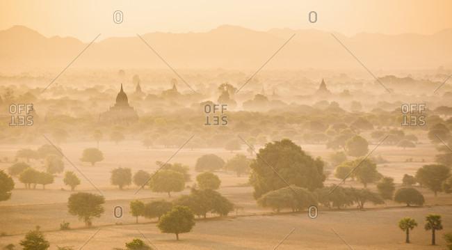 Misty sunrise at ancient city of Bagan, Mandalay Region, Myanmar