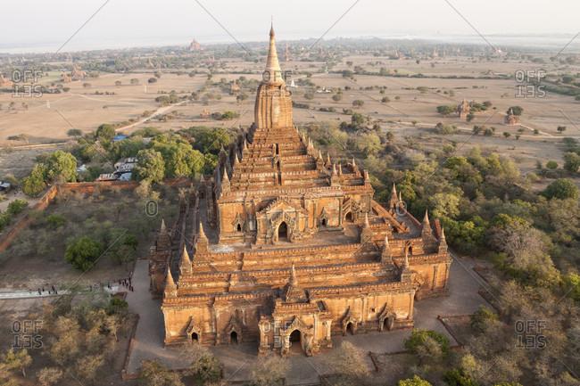 High angle view of Sulamani Pahto temple, Bagan, Mandalay Region, Myanmar