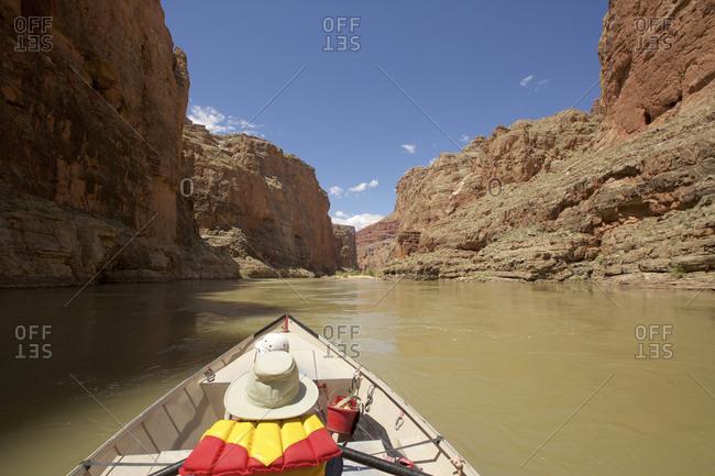 Hat and life jacket on rowboat, Colorado River, Grand Canyon, Arizona, USA