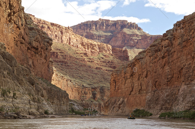 Rowboat on Colorado River, Grand Canyon, Arizona, USA